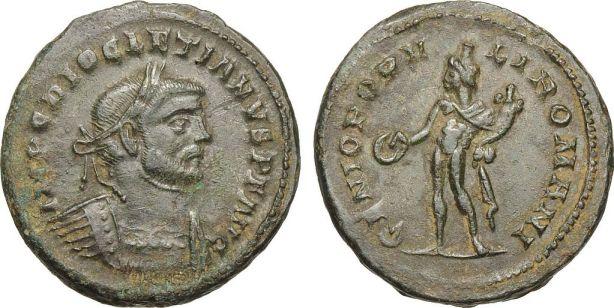 Moneda romana (follis) cu infatisarea lui Diocletian (284-305)