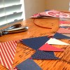 Red white and blue pennant banner on ribbon