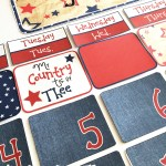 Red white and blue patriotic calendar set