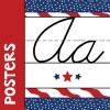 Red white and blue cursive alphabet posters