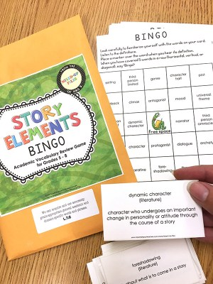 Story elements BINGO game to review ELA academic vocabulary terms