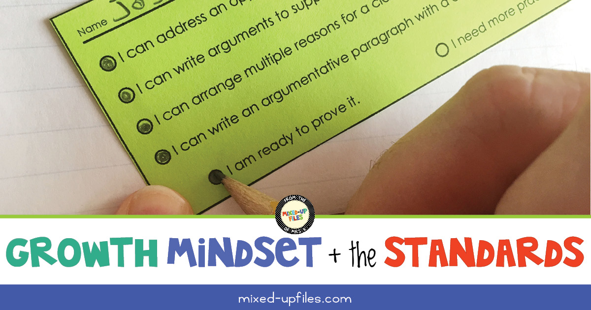 Growth Mindset and the Standards with student completing exit ticket