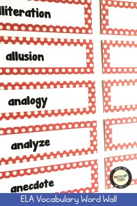 ELA Vocabulary Word Wall for grades 6-12