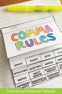 Comma rules flip book in interactive notebook