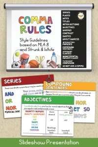 Comma Rules slideshow presentation with example slides for series, adjectives, and compound sentences