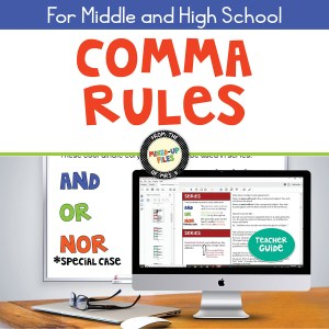 Comma Rules slideshow presentation and teacher guide