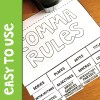 easy to use Comma Rules flip book for interactive notebooks