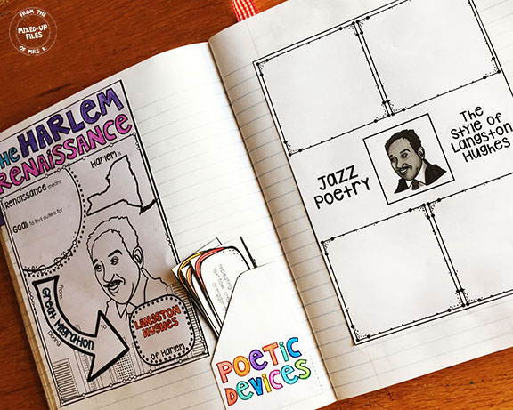 Harlem Renaissance poetry interactive notebook pages