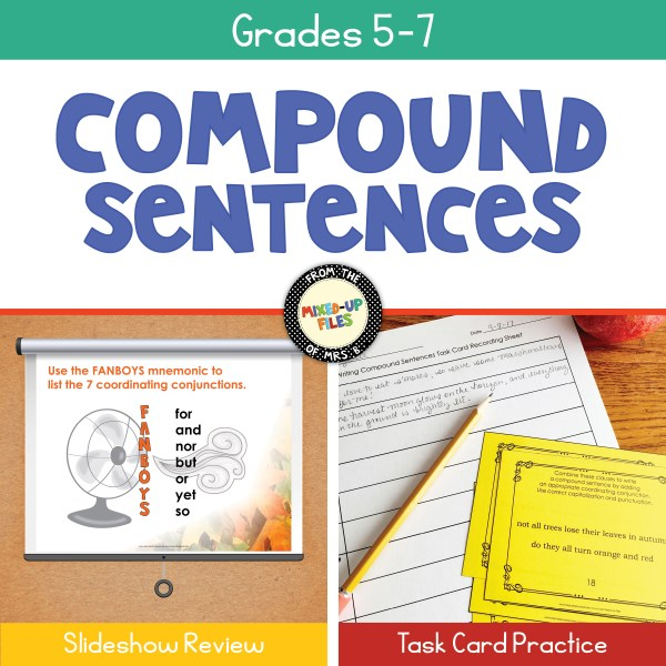 Writing Compound Sentences slideshow review and task card practice
