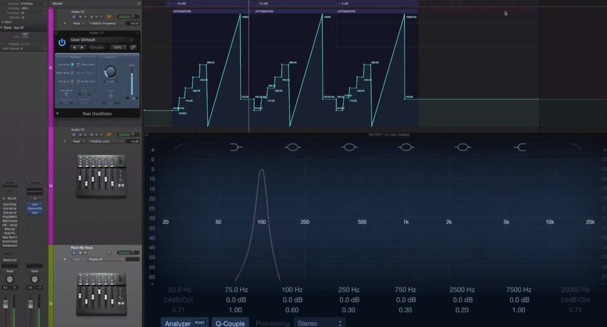 """This picture is part of the article """"Compression is not what you think it is. Part 1 - the Royal Harmonics."""" on www.mixedbymarcmozart.comTesting compressors: Fairchild 670, LA-2A, LA-3A, 1176, SSL, Tube-Tech CL1B, TLA-100A, etc.This clip shows the test setup, with no compressor inserted.Oscillator feeds a compressor with a test-tone- The test tone is a sine-wave (as you know, a sine-wave has no added harmonics).- We cycle through 55 Hz, 110 Hz, 220 Hz, 440 Hz tones- then a sweep from 20 Hz to 20.000 Hz- finally a 100 Hz toneWe cycle through this 3 times, with rising levels:- 1st Cycle:Oscillator hits Compressor with - 18 dB of levelCompressor Threshold is set JUST BEFORE compressionfor the compressor NOT to compress (unity gain)- 2nd CycleOscillator hits Compressor with - 12dB of level (6 dB more than on the previous cycle)Compressor setting stays the same, but of course compression now kicks in!!- 3rd CycleOscillator hits Compressor with - 2 dB of level (another 10dB added on top of the previous cycle)Compressors same settings, but now really hitting compression hard!A huge analyzer plug-in after the compressor (using Logic Pro X's Channel EQ) displays the frequency spectrum in realtime."""