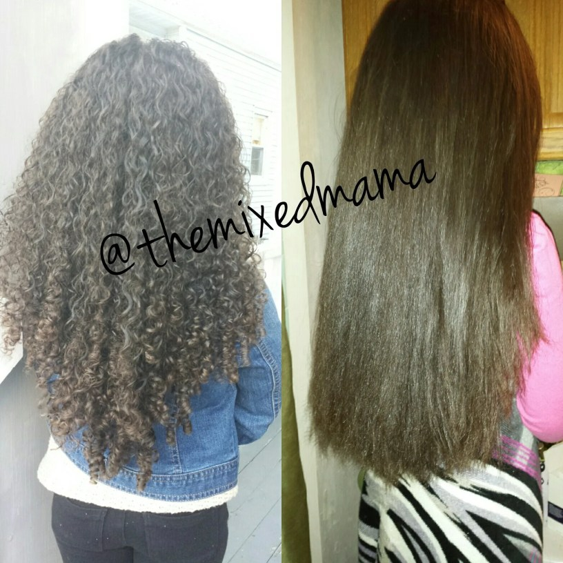 Curly and Straight Before and After _ How to Straighten your Curly Kids Hair _ Using Etae Carmelux Combo_ by Mixed Family Life