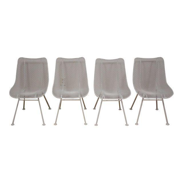 russell woodard sculptura white patio dining chairs set of 4