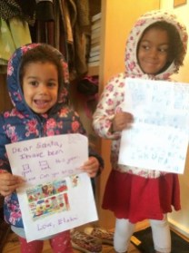 The girls with their Christmas lists for Santa