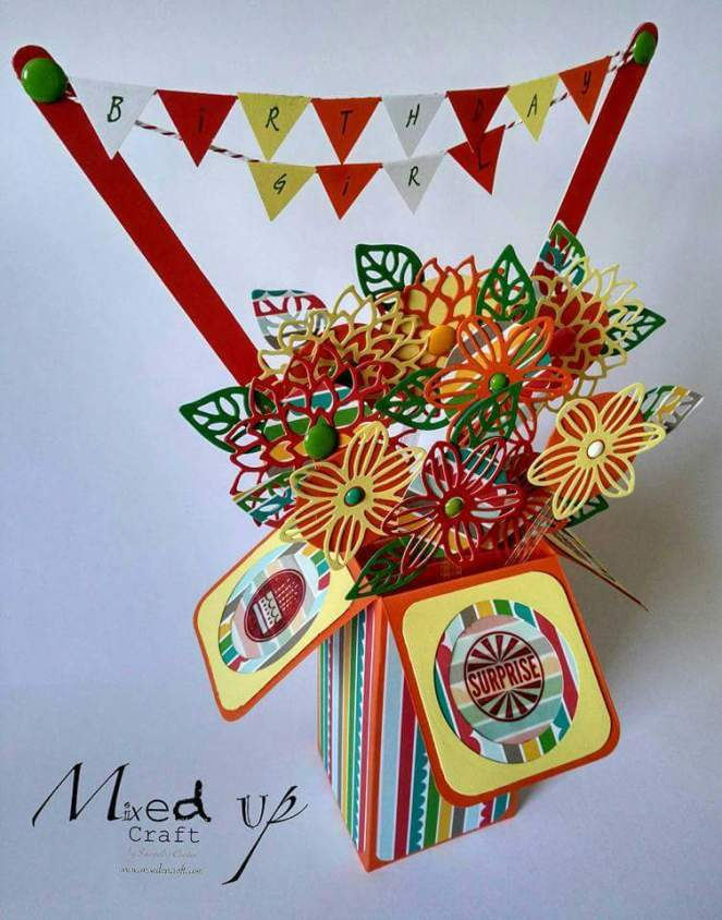 Flower & Bunting Pop Up Box Card