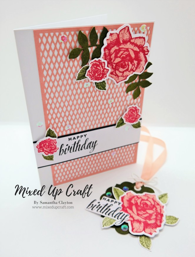 Beautiful Floral Gift Bag with Matching Card & Gift Tag