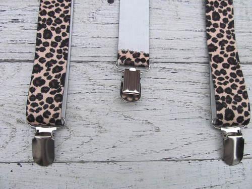 Bretels met bruine dierenprint