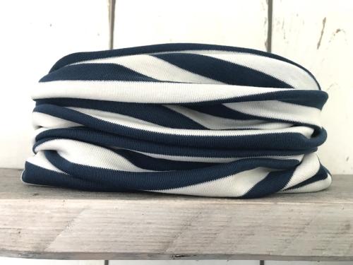 Blauw/wit gestreepte colsjaal