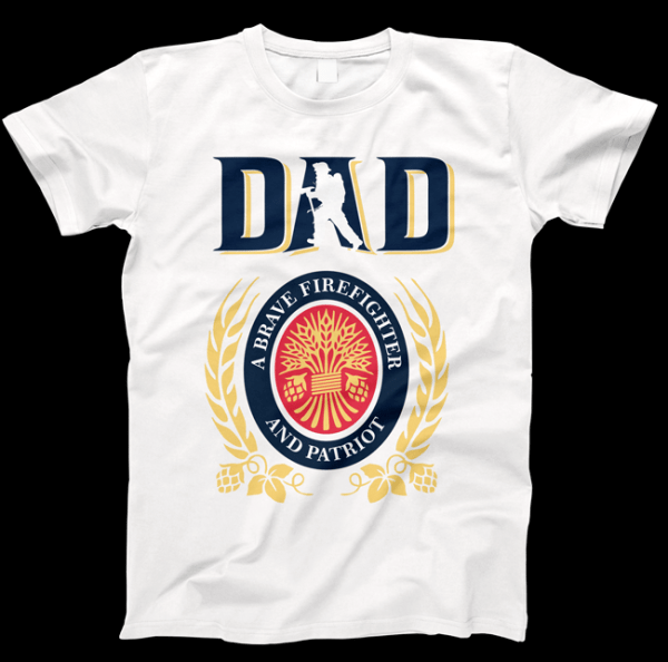 Dad-Fire-Fighter-Millers-Lite-T-shirt
