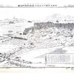 明治23年の浅間大社境内図と平成13年空撮写真比較