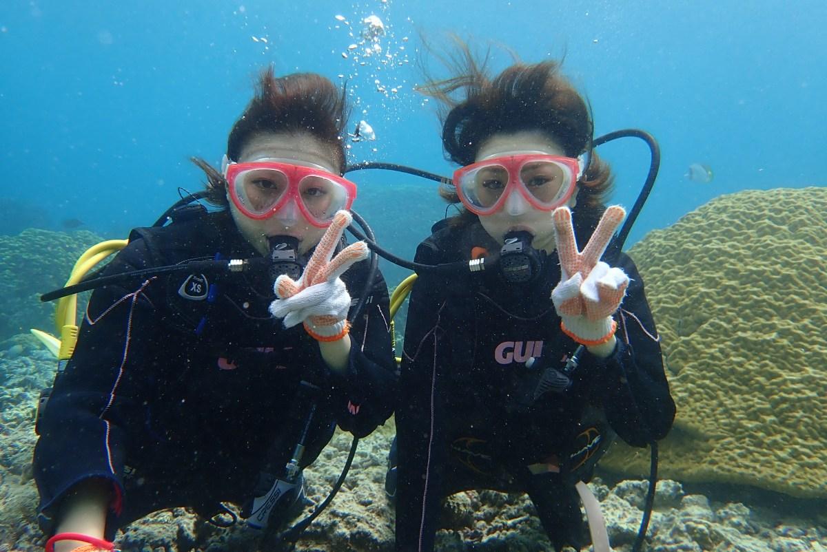 女子旅のゲストと一緒に中の島ビーチで体験ダイビング