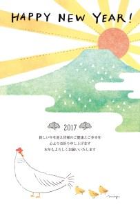 酉 年賀状 ひよこ 日の出 富士山