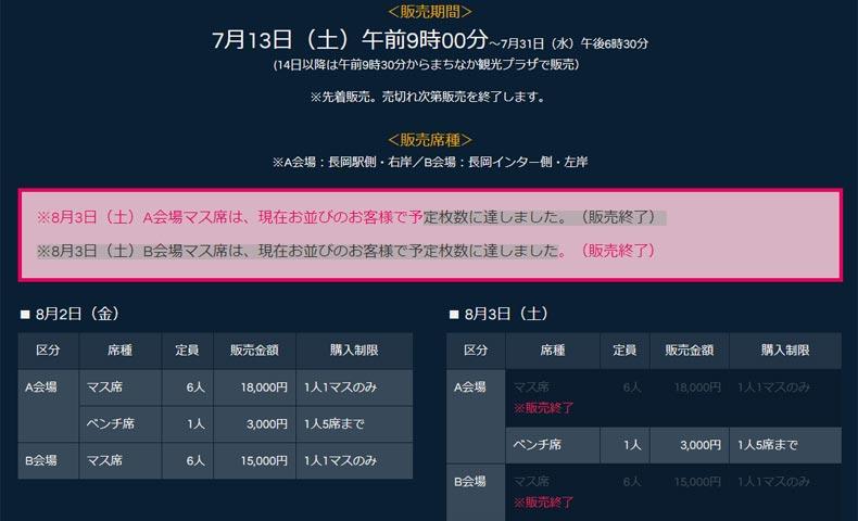 長岡花火窓口販売前日の公式HPアナウンス