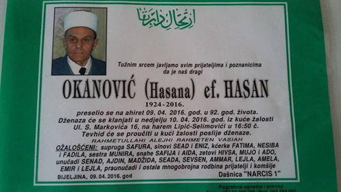 Preselio Hasan ef. Okanović