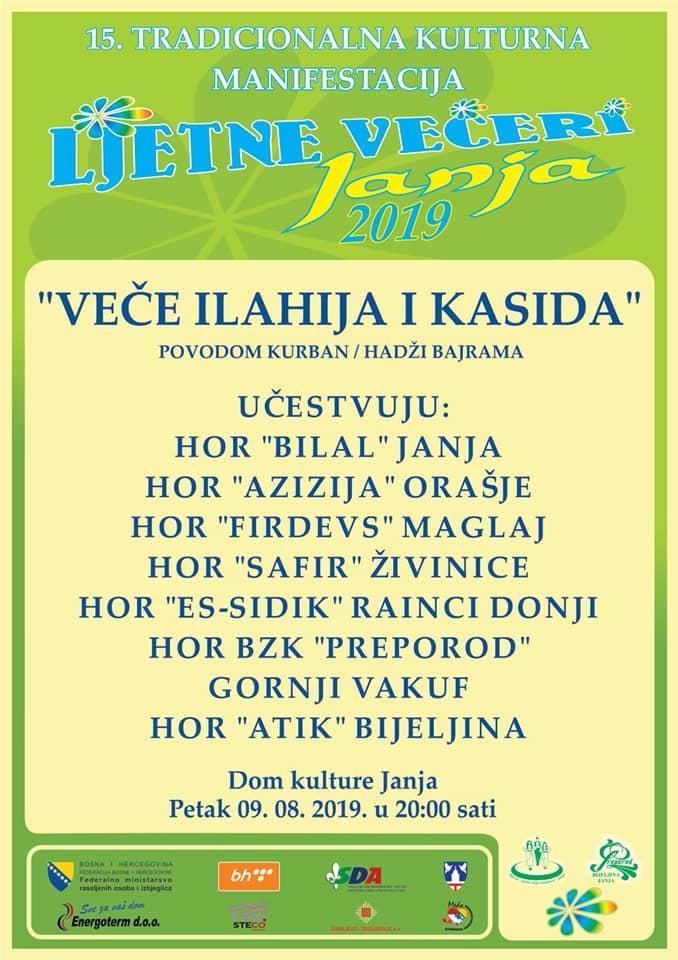"Janja: Predbajramskim koncertom ilahija i kasida, u petak 9. augusta, zatvorene 15. Ljetne večeri ""Janja 2019"""