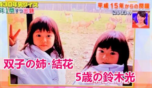 東大王鈴木光と双子の姉の結花と幼少期の頃の2ショット