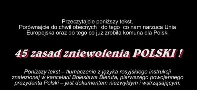 MÓJ SUBSKRYBOWANY KANAŁ – 45 zasad zniewolenia Narodu Polskiego
