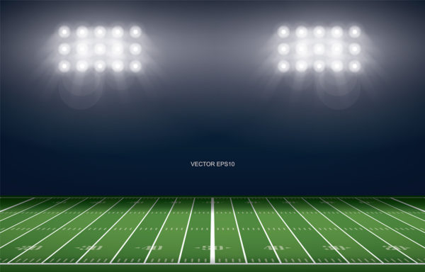 American Football Field Stadium Background. With Perspective Lin