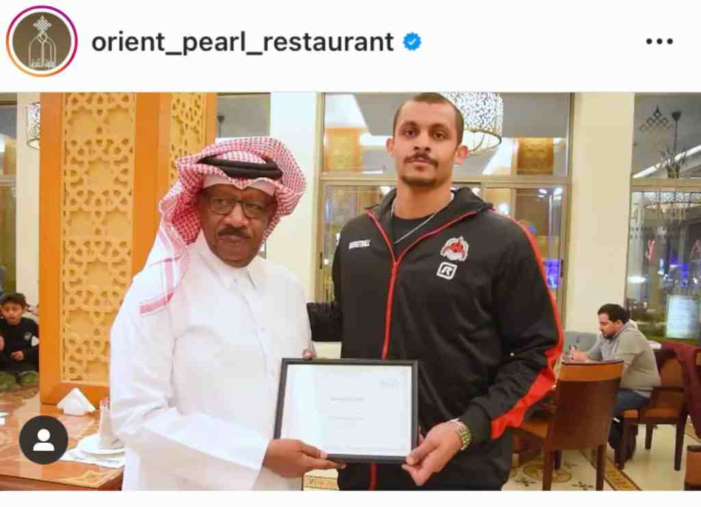 orient pearl restaurant invited Mizo Amin and awarded him with a top athlete certificate given by olympic president mr dahlia al hamad himself