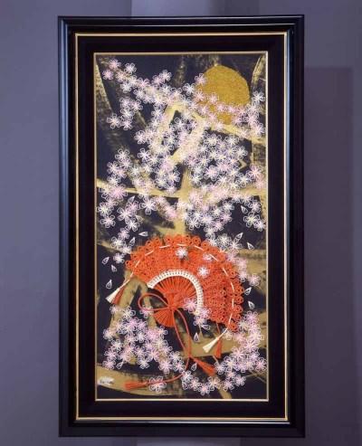 水引アート 額装 月と桜の写真