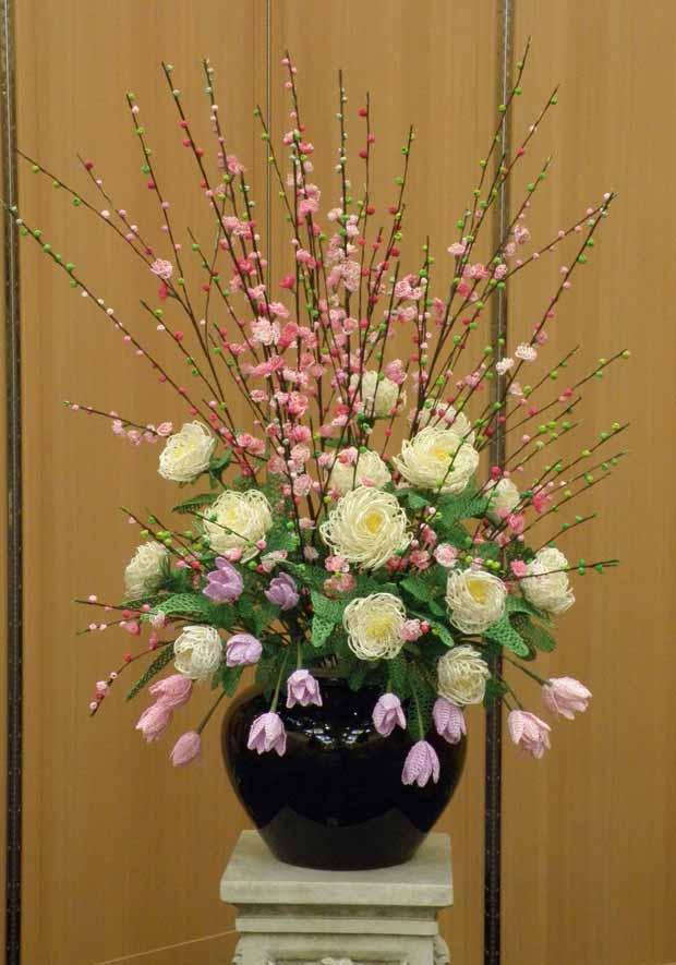 水引アート生徒 引間 美奈子 作 桃・チューリップ・芍薬「春 の 風」 写真