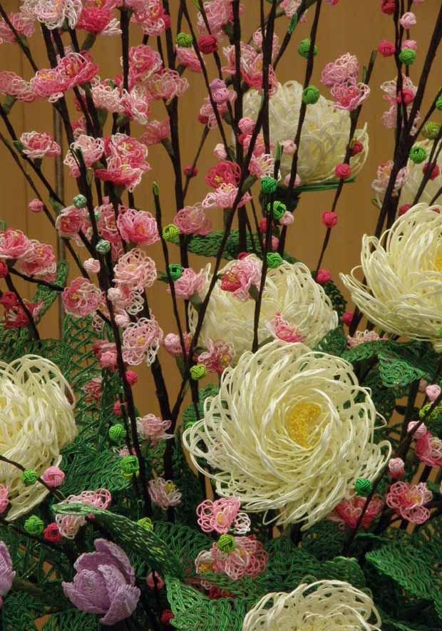 水引アート生徒 引間 美奈子 作 桃・チューリップ・芍薬 「春 の 風」写真