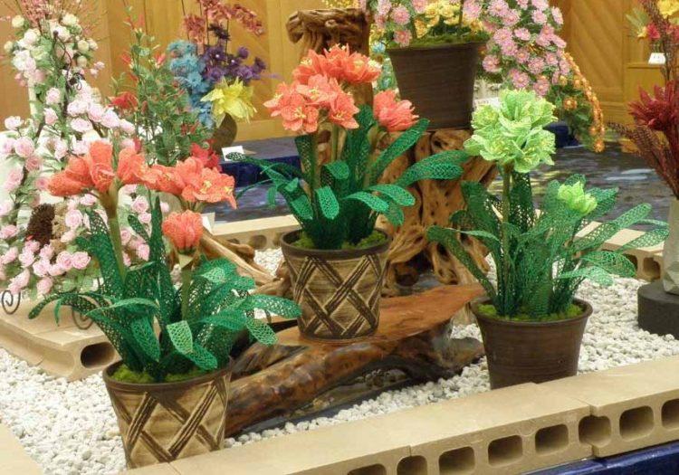 水引アート生徒 福田 千加子 作 君子蘭 「花のワルツ」 写真