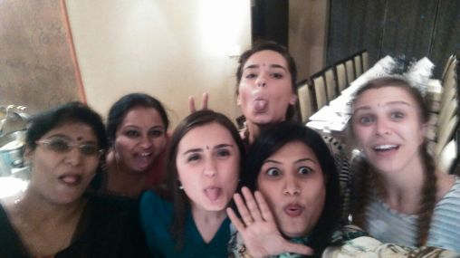 Funny faces at celebratory dinner