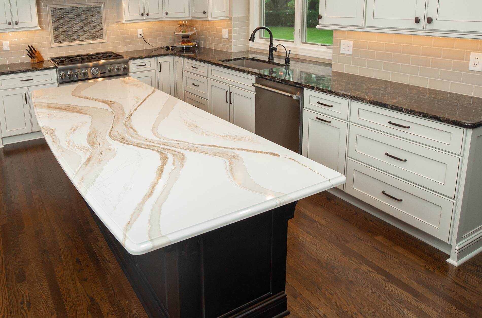 From tiles to stone and beyond. MJ Kitchen & Bath Kitchen Project – Touch of Gold