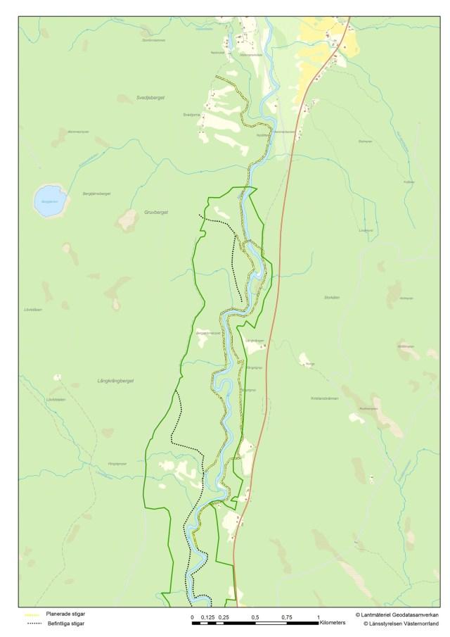 Karta över Mjällådalen med stigar.