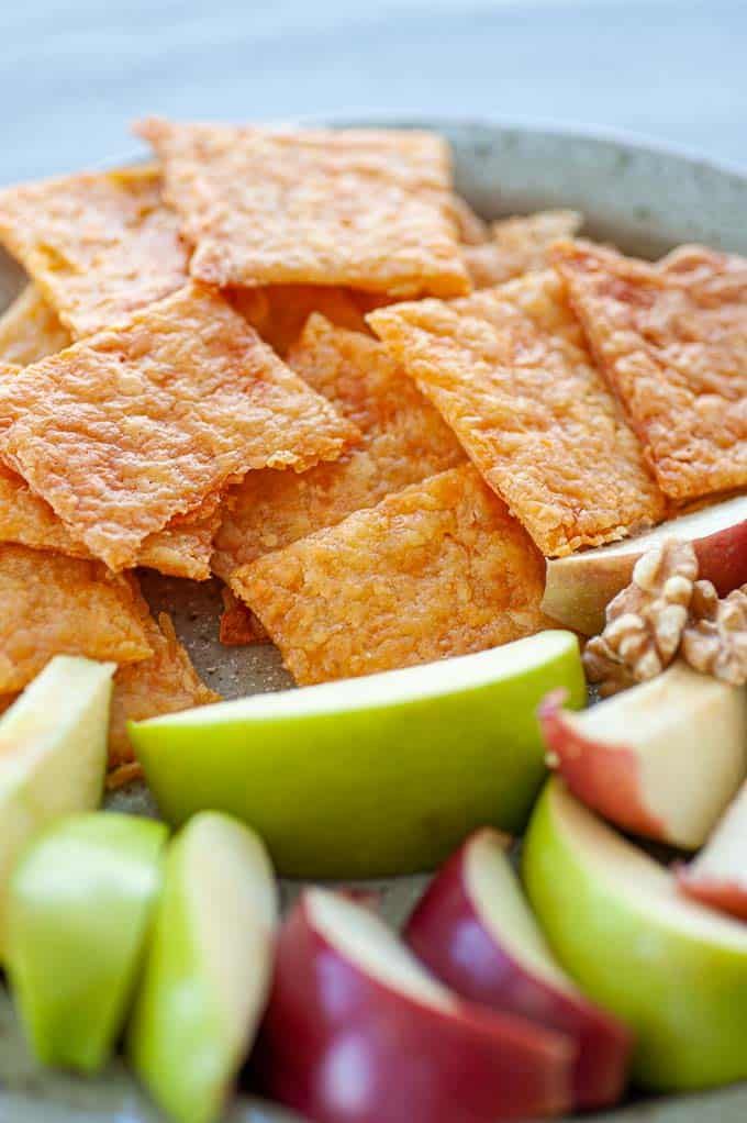 Easy cheesy sourdough crackers make a great appetizer with fruit and nuts.