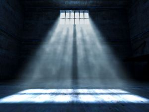 prison cell with light through window