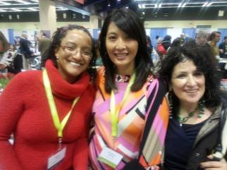 Editor M.J. Fievre with Sliver of Stone contributors M. Evelina Galang and Elmaz Abinader