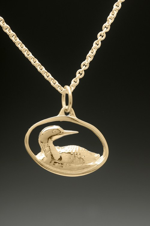 loon pendant gold