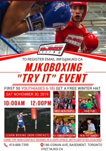 MJKO Boxing Try it Event - Nov 30 2019 - to register email info@mjko.ca