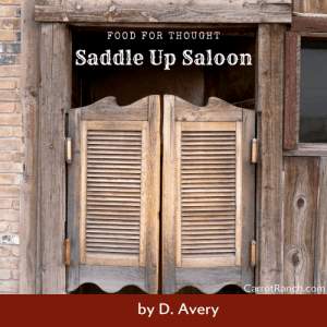 Saddle Up Saloon; One Shy of a Six Pac at the Mic « Carrot Ranch Literary Community