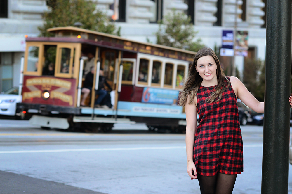 Girl in San Francisco with Cable Car