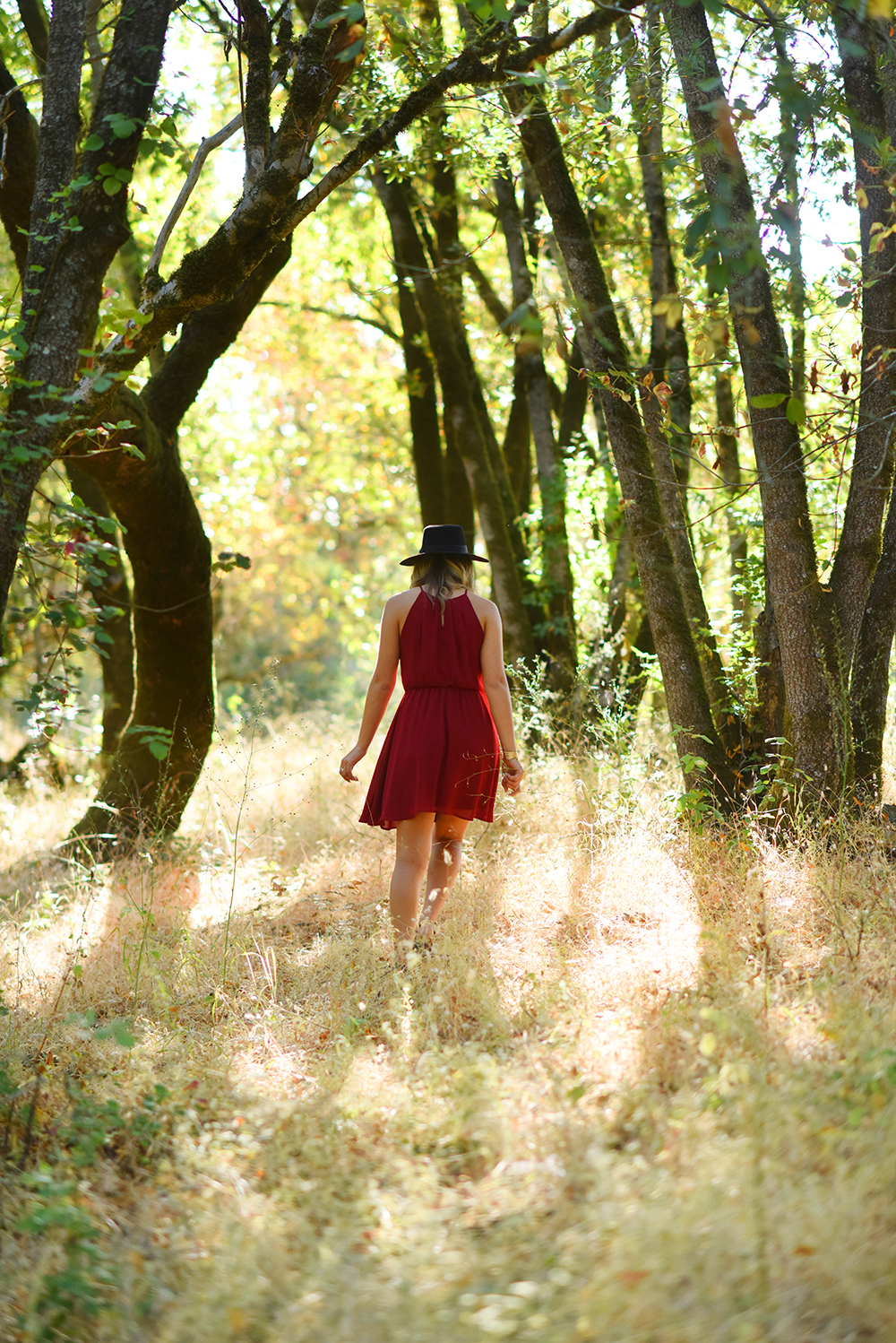 girl walking in forest