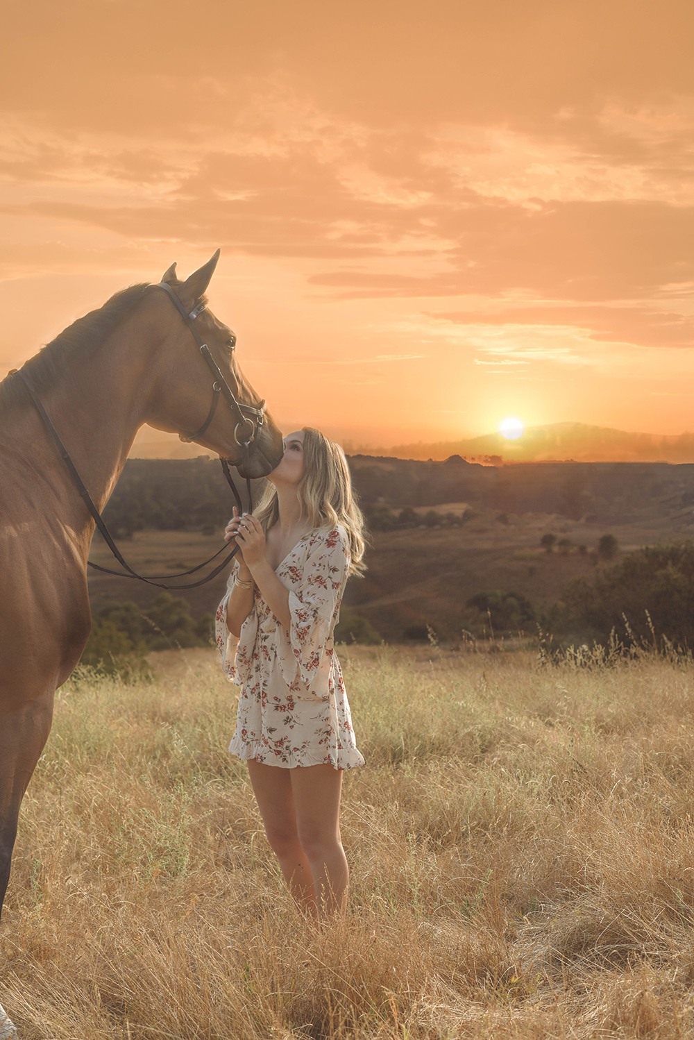 Sunset with a girl and horse
