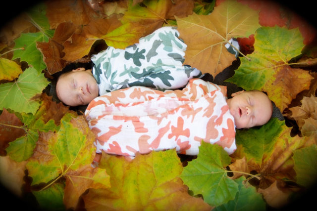twin newborn boys in fall leaves