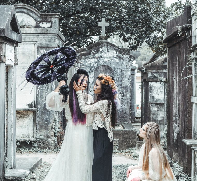 Fashion Editorial New Orleans Lafayette Cemetery with creative team from Urban Elements Salon Petaluma